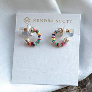 Kendra Scott Reece Gold Huggie Earrings In Neon